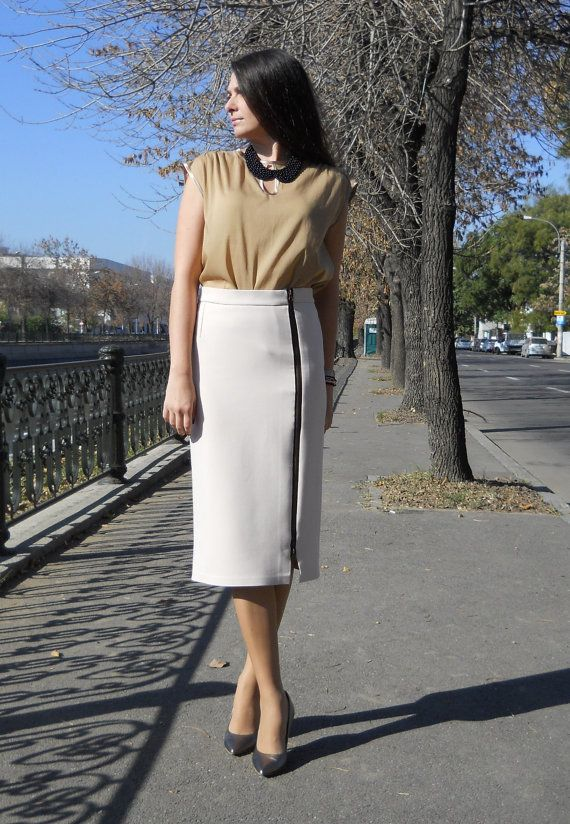 Midi Pencil CottonBlend Skirt Women Midi Skirt by PrincipessaLabel, $65.00