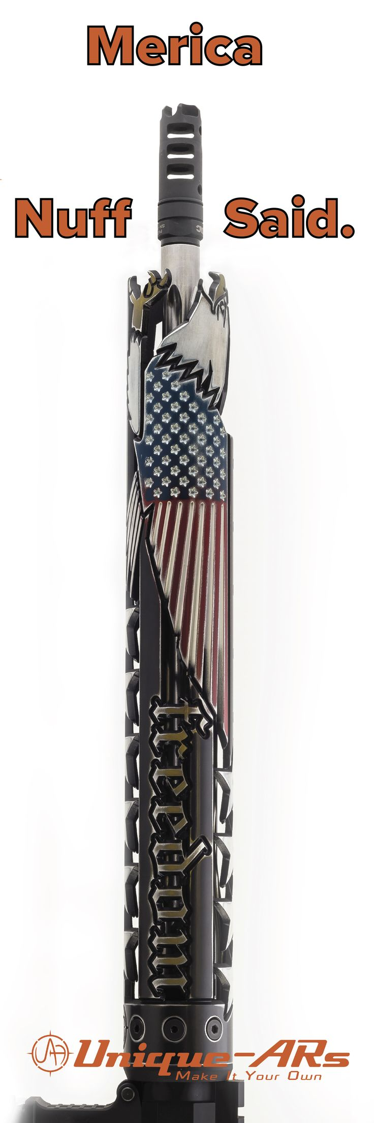 Unique-ARs AR-15 Freedom handguard with custom cerakote paint.  Merica...F-yeah.  Handguard is compatible with any mil-spec upper, including AR-15, AR-10 and airsoft uppers.  You can purchase from the website here- https://unique-ars.com/shop/hand-guards/freedom/
