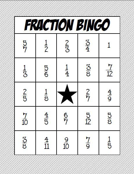Adaptable image regarding adding and subtracting fractions game printable