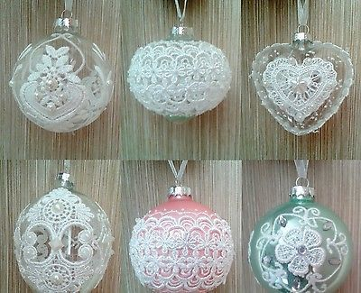 Christmas Tree Ornament Glass Ball with Laces, Bauble boule de Noël Clear White