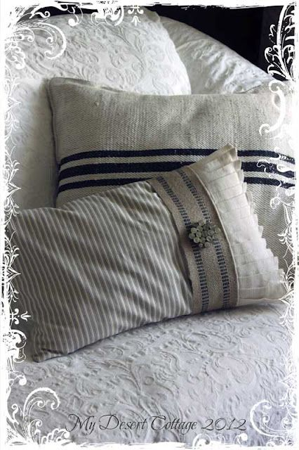 Beautiful grain ticking pillow with furniture strapping and pleated linen from My Desert Cottage.