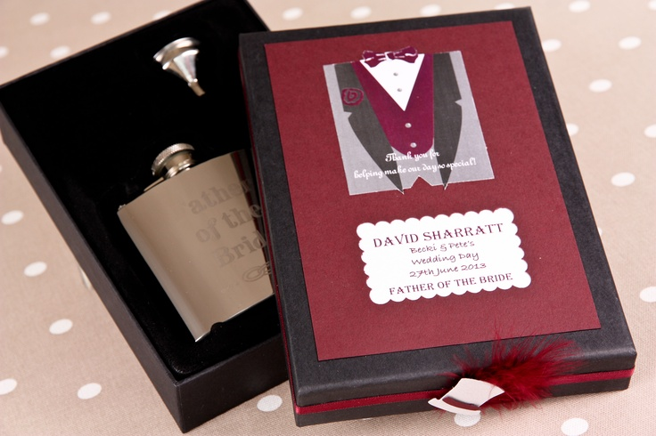 Wedding Stainless Steel Hip flask in personalised gift box.Makes a perfect present for Best Man, Usher or Father of the Bride.