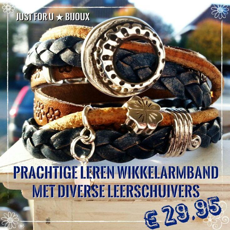 Prachtige leren wikkelarmband, kleur denim blue & cognac, met mooie leerschuivers. € 29,95. Te bestellen via justforu-bijoux@outlook.com.