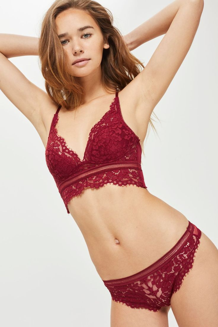 W2018  Lace Bralet and Thong Set - Lingerie & Nightwear - Clothing - Topshop