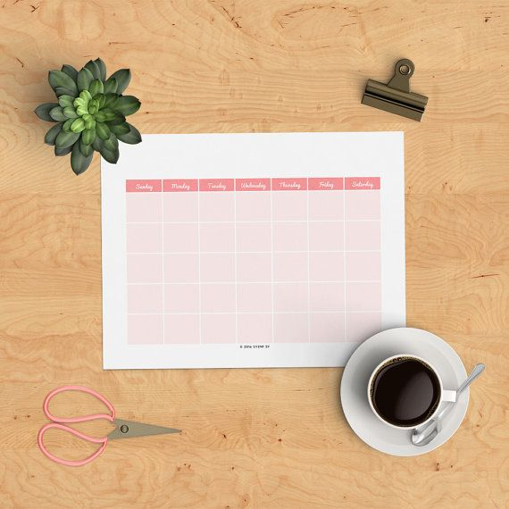 Download this Blank Calendar to Print by Event 29 on Etsy