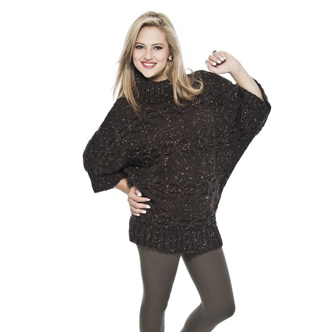 Blusa marrom Cisne Acalanto #tricô #ModaInverno #Cisne2013 #CoatsCorrente