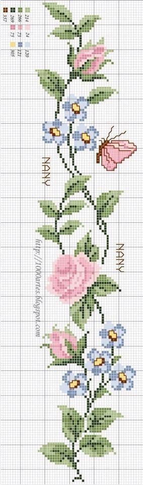 Cross stitch rose patternt  İnstagram / madebyigneiplik