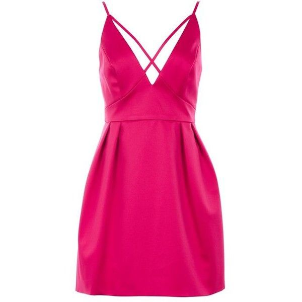 Topshop Cross Front Mini Prom Dress ($73) ❤ liked on Polyvore featuring dresses, pink dress, mini prom dresses, cocktail party dress, party dresses and going out dresses