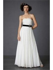 Cotton Strapless Back Zip Draped Bodice Wedding Dress