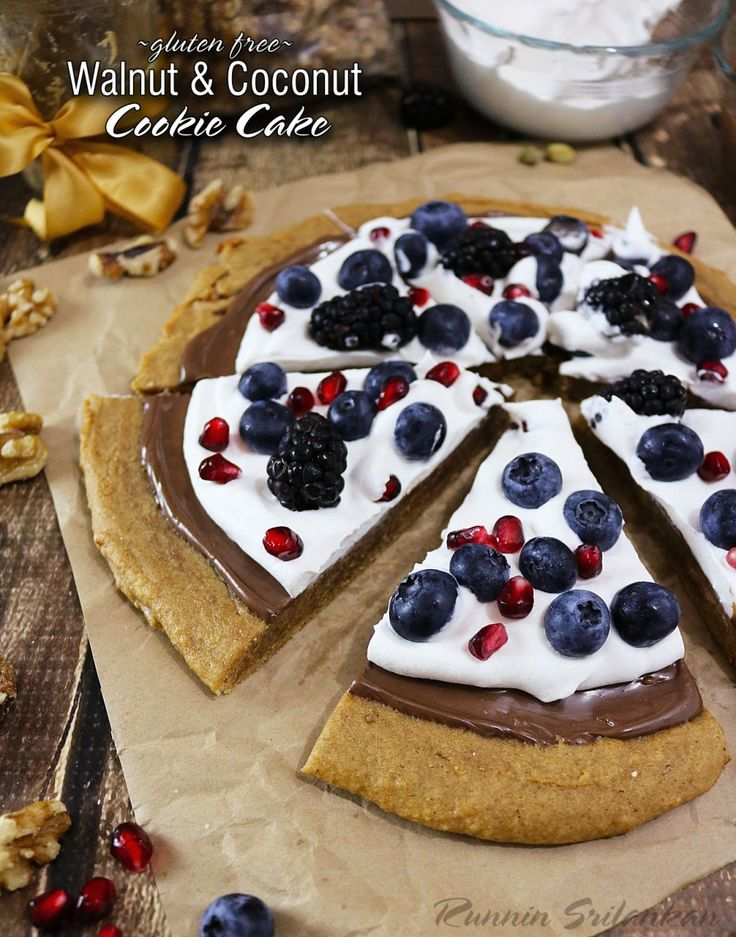 Walnut Coconut Cookie Cake with chocolate, berries, pomegranate arils ...