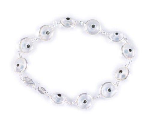 "Sterling Silver Evil Eye Bracelet 7.5"" - Clear Pracha Silver. $19.95. Save 43% Off!"