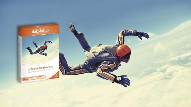 Máxima Adrenalina · www.dakotabox.es · 169,90€ · 585 actividades para 1   345 actividades para 2. Disfrutad de deportes extremos, conduce un Ferrari, vuela en un ultraligero, conduce una moto de nieve, practica el kitsurf o paracaidismo, etc.