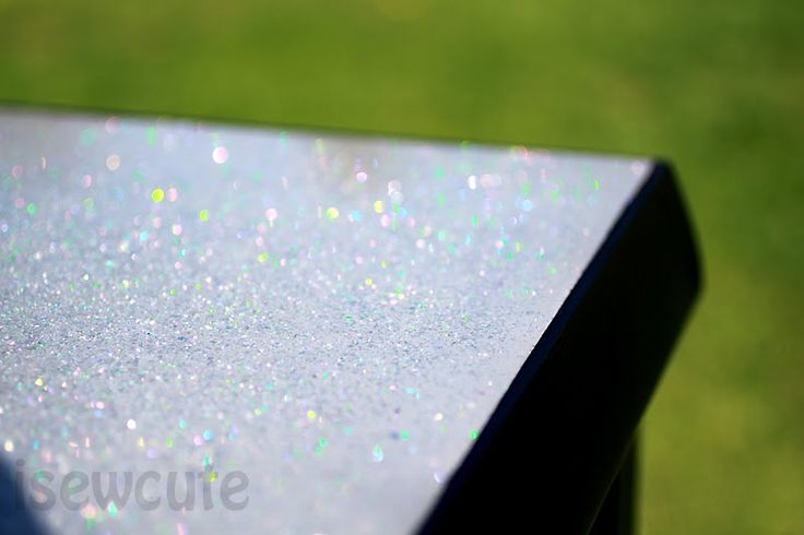 Table Refinished with a Sparkly Glitter Top