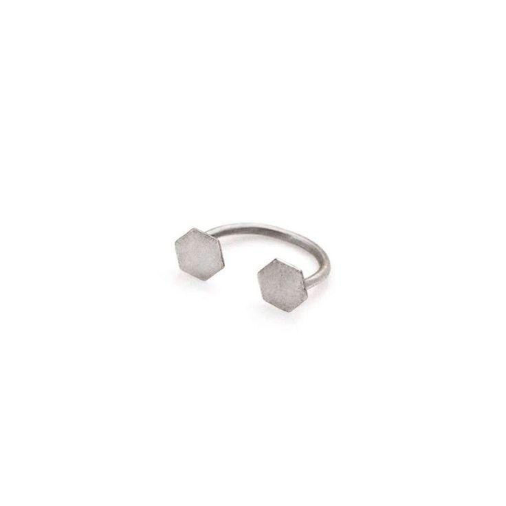Open Hexagon Ring- Silver