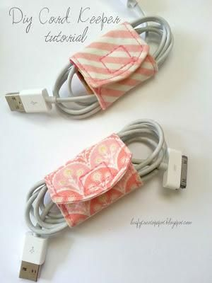 Love these. Makes finding the cord I need quick, untangled, in a pretty little washable holder. www.FromMyMothersHand.etsy.com