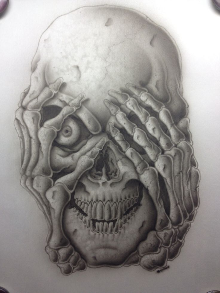 Airbrushed skull on airbrush paper.