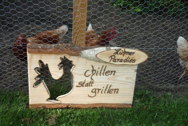 Holzschild-Hühnerstall-Schild ♥ von Holz- Kreativ auf DaWanda.com