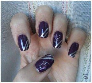 Tutorial Nail Art - Flowers in Purple&Silver stripes - Tentazione Unghie