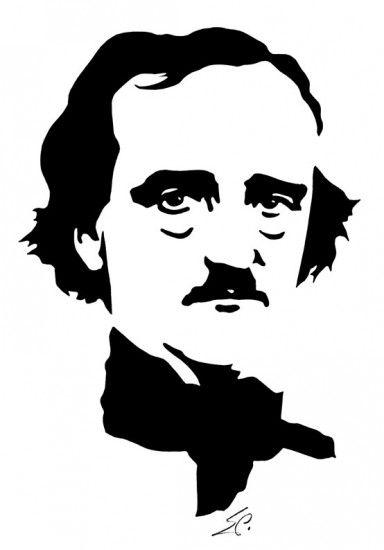 Linóleo de Edgar Allan Poe realizado por el alemán Eduard Prüssen en el año 2000
