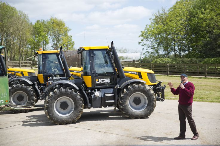 Our Senior Farms Manager leading the farm tours with JCB tractor trailers