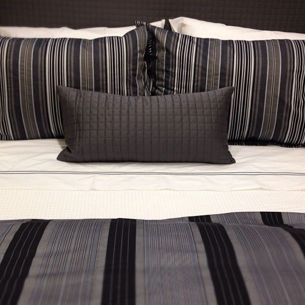 Striped masculine bedding.