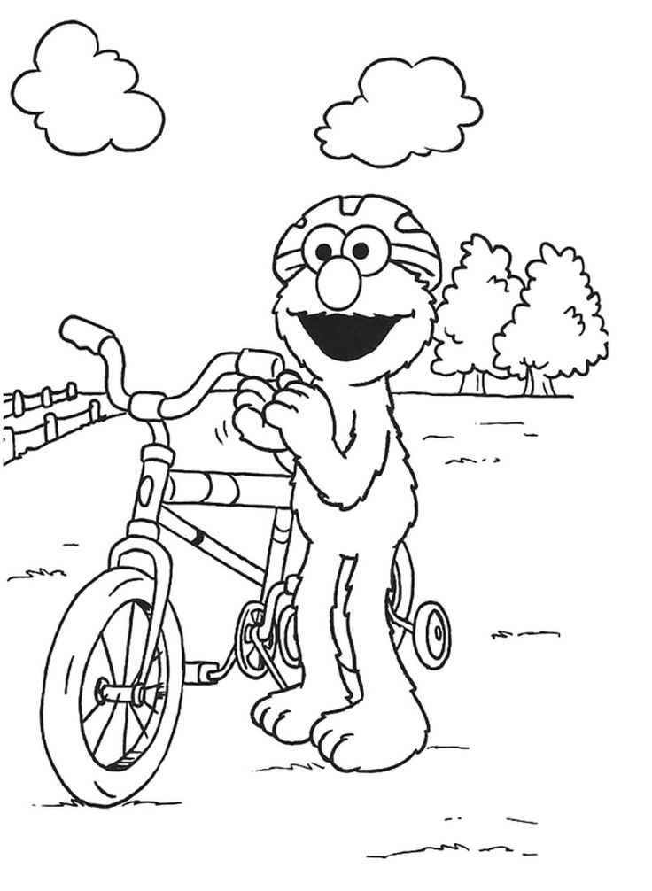 Elmo Happy Bike Play Coloring Pages | School age crafts ...