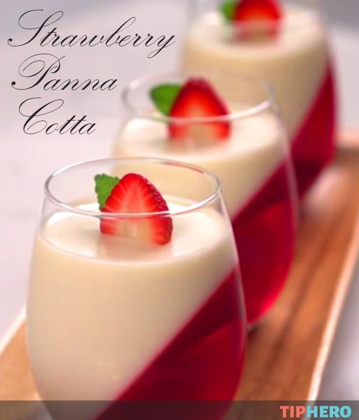 Strawberry Panna Cotta | It's almost too pretty to eat, but you've got to try this custardy dessert. It's really simple and easy to make and pairs a sweetened cream with straberry Jell-O (or your favorite flavor) for a treat that is smooth and tasty. Click to watch how they're made. #sweettreats #easydesserts #jello