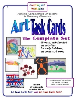 #Art Task Cards - The Complete Set -- Want to include a little more art in your #classroom ? Have students with nothing to do when they finish their assignments? Interested in developing more independence and creativity in students? These Art Task Cards are for you! #arted