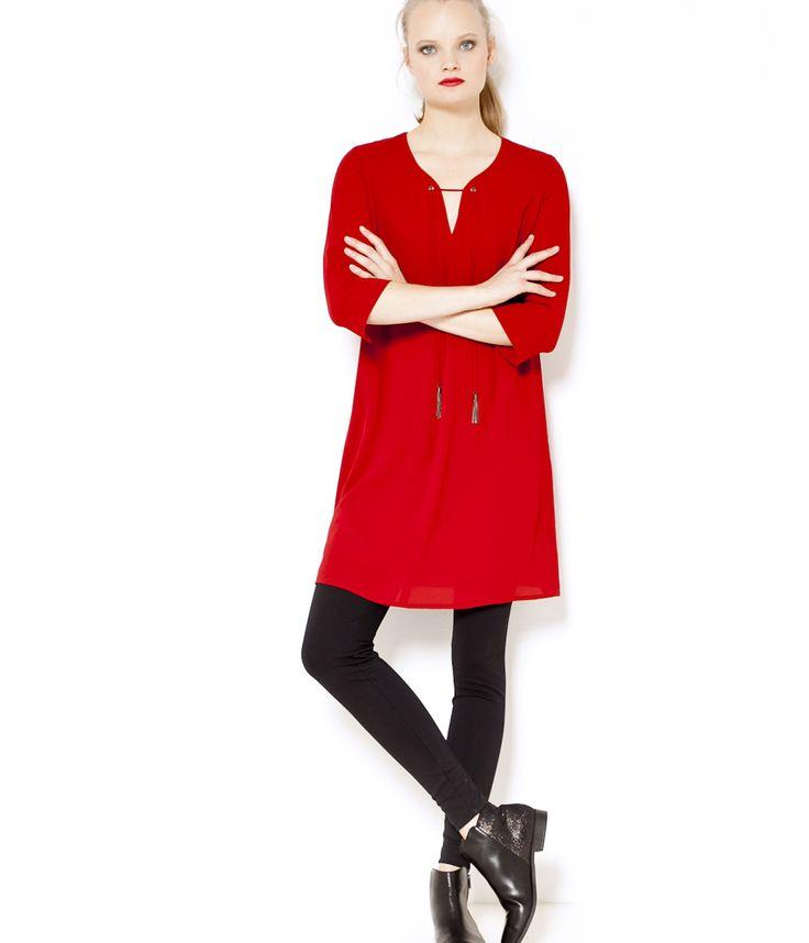 Robe fluide rouge Camaïeu 2016