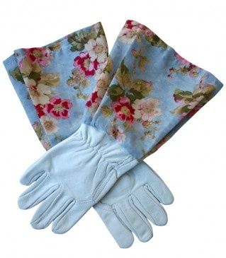 Briar Rose Red / Blue, White Leather Gardening Gloves