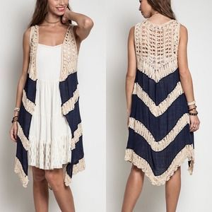 I just discovered this while shopping on Poshmark: The SUMMER boho chic knit vest - NAVY. Check it out!  Size: S, M, L