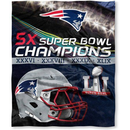 Official National Football League, New England Patriots Super Bowl 51 Champions High Definition Silk Touch Throw, 50 inch x 60 inch, Blue