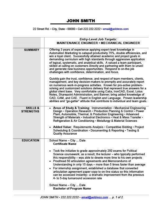Uxhandy Maintenance Resume Sample 22 Housecleaners Uxhandycom 77efb588 Resumesample Mechanical Engineer Resume Engineering Resume Templates Engineering Resume