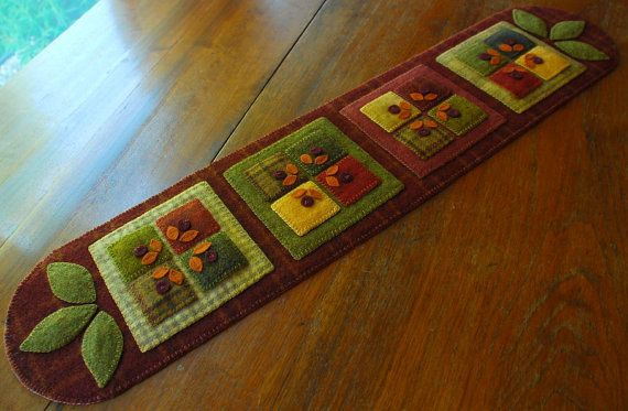 Wool applique quilt block table runner primitive autumn fall candle mat penny rug felted hand dyed mill dyed wools quilt block