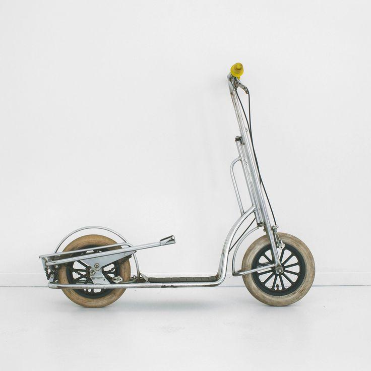 vintage italian push scooter, italian scooter, push kick scooter, chrome chain driven scooter, italian push kick scooter by homeandhomme on Etsy https://www.etsy.com/listing/248040140/vintage-italian-push-scooter-italian