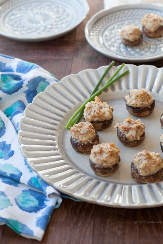 Crab Stuffed Mushrooms - Against All Grain http://againstallgrain.com/2014/01/30/crab-stuffed-mushrooms/