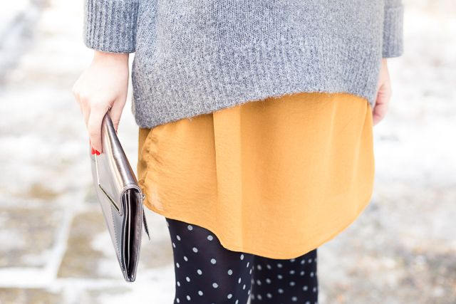 polka dots oversize mustard dress sweater tights personal style