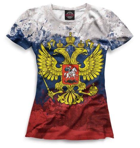Триколор и герб. Футболка с полным принтом. Российский герб на фоне триколора российского флага. Полная запечатка. #футболки #принты