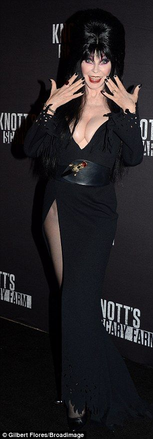 'Unpleasant dreams!' Cassandra Peterson is celebrating 35 years of her vampy, wisecracking alter ego with a new 'coffin table book' Elvira Mistress of the Dark (pictured in 2016)