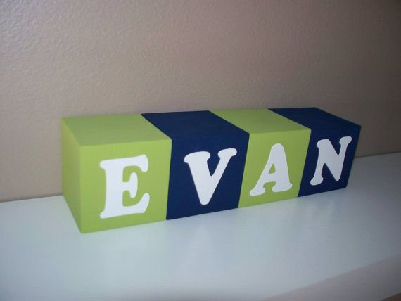 Name Blocks  Lime Green Navy Blue  Boy  2 by BlockaholicBoutique, $5.00