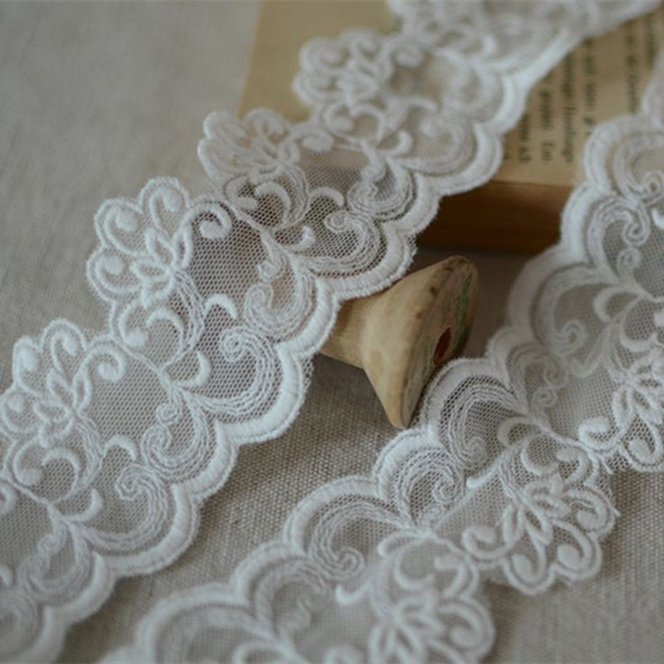 White 3 Yards 2 Inches White Cotton Embroidery Mesh Lace Trim Ribbon Costumes Suppiles Craft DIY Handmade Accessory >>> Read more at the image link.