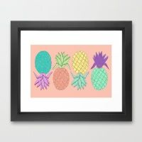 pineapple large coral  Framed Art Print