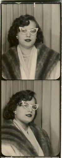 ** Vintage Photo Booth Picture **   Oh those cat eye glasses!