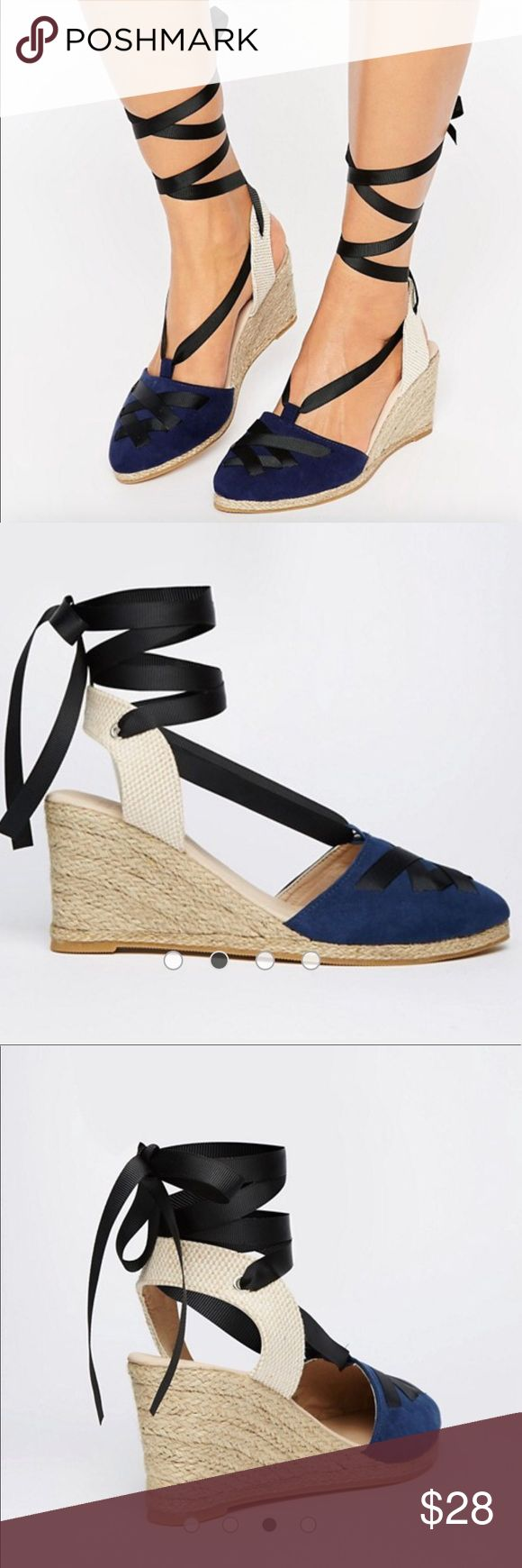 """ASOS Jacqueline point wedge closed toe espadrilles NWOB. Navy blue with black laces woven throughout tie up the ankle currently sold out on the ASOS website. 3"""" wedge. ASOS Shoes Wedges"""