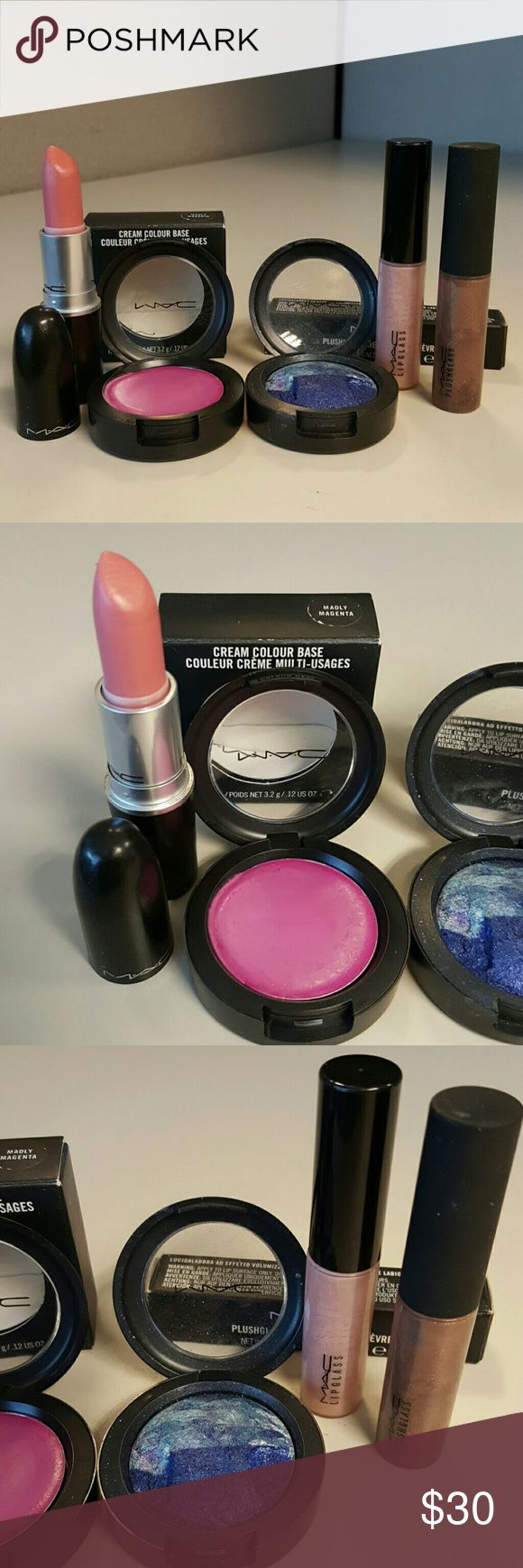 Five MAC items All Gently Used; NOT SEPARATING; NO TRADES;  Speed Dial Lipstick  Wet, Wild, Wonderful Plushglass (with box) Oyster Girl Lipglass  Madly Magenta Cream Colour Base (with box) Sea & Sky Mineralize Eye Shadow MAC Cosmetics Makeup
