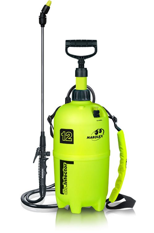 DIS. INFECTOR is a 12 litre sprayer designed especially for cleaning and  disinfection in inventory buildings. The sprayer is highly efficient, durable and comfortable to use. It is equipped in a steel lance and viton seals so it can be used with strong chemicals and caustic detergents.