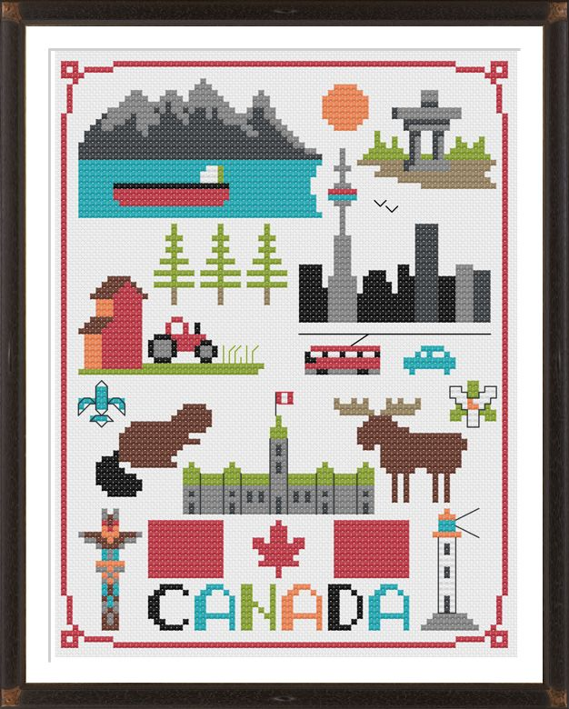 Canada Cross Stitch Pattern – Tiny Modernist Cross Stitch