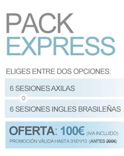 Pack de depilación láser express. Escoge entre 6 sesiones de axilas o 6 sesiones de ingles brasileñas. Disfruta de la cuesta de enero al mejor precio.