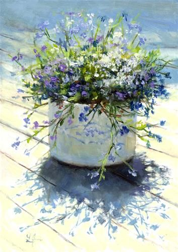 """Mixed Lobelia"" - Original Fine Art for Sale - © Linda Jacobus #watercolor jd"