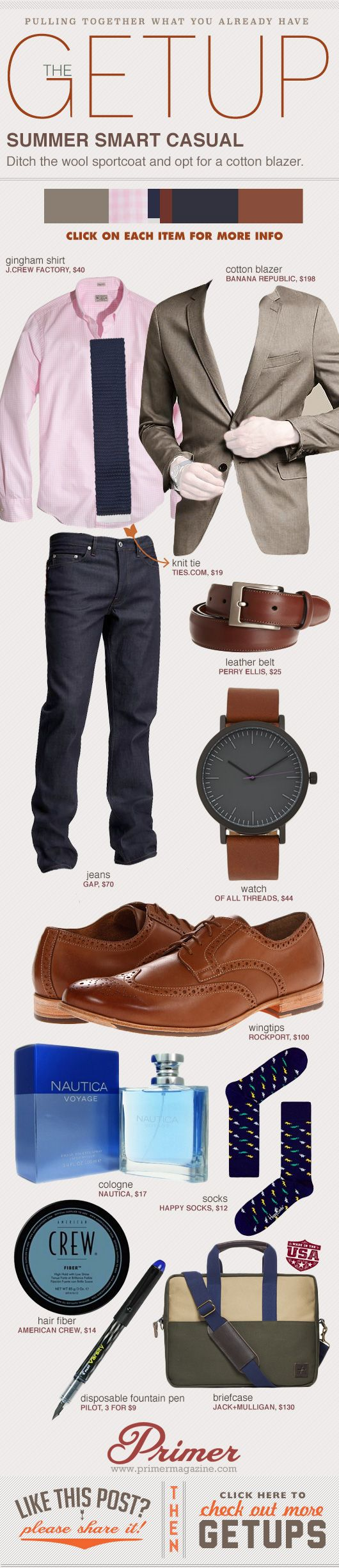 The Getup: Summer Smart Casual | 'Ditch the wool sportcoat and opt for a cotton blazer.'
